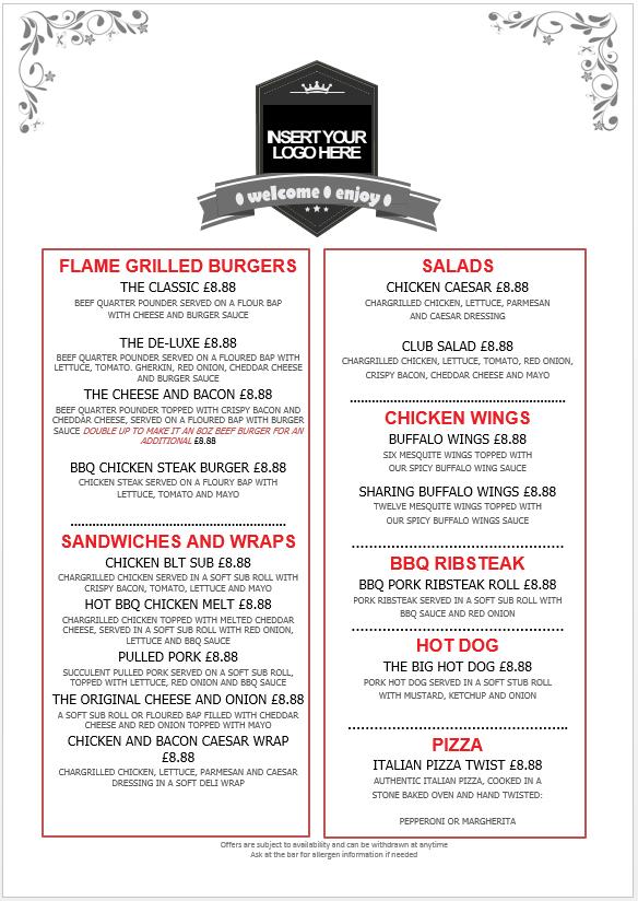 editable food menu templates big al s foodservice uk